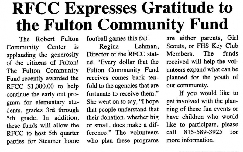 RFCC Receives Check from Fulton Community Fund